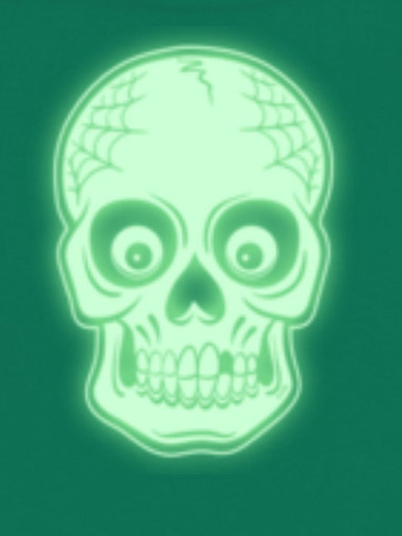Trick or Treat Bag   GLOW in THE DARK over sized drawstring bags Day of the Dead Goth Skull  Rock a Billy Halloween Sugar Skull