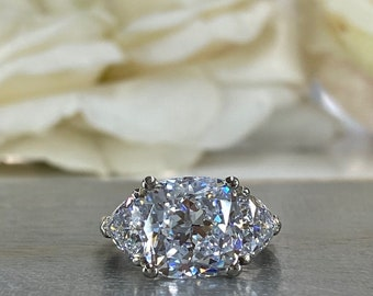 Cushion Cut Moissanite Engagement Ring, Large Three Stone Ring, Moissanite Wedding Ring, 14k Gold Ladies Ring, Anniversary Gift, #7055
