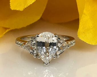 Moissanite Pear Enement Ring | Certified Moissanite Pear And Baguette Engagement Ring With Etsy