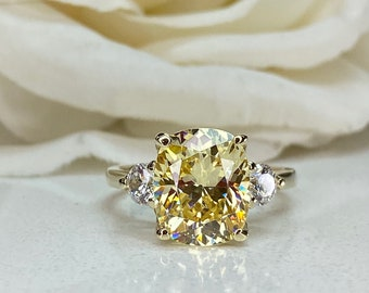 2.5ct Radiant Cut Canary Yellow Simulated Diamond Classic Wedding Engagement Bridal Promise Designer Ring Solid 14k Yellow Gold
