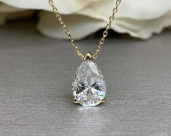 925 Sterling Silver Rhodium-plated 9x6 Pear Cubic Zirconia Pendant