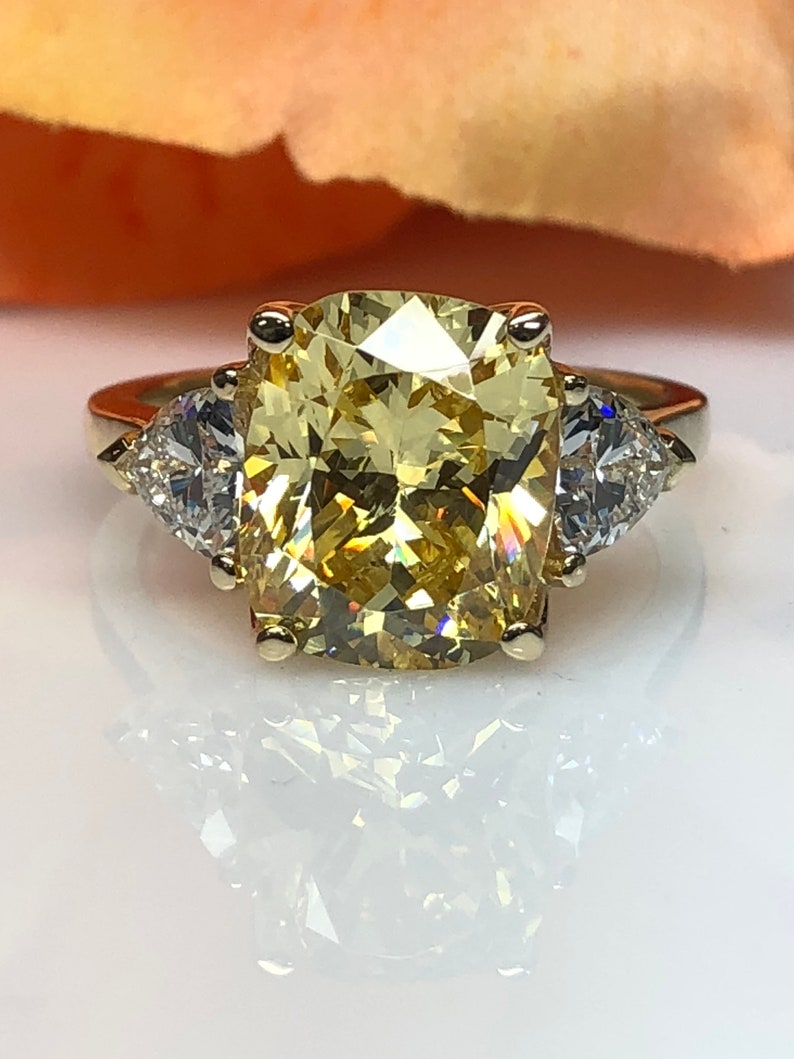 Canary Yellow Elongated Cushion Cut Engagement Ring With Trillion Accents Promise Wedding Ring 14k Yellow Gold Item 5683