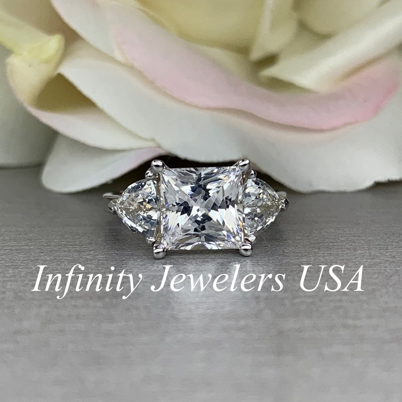 572a82c5d9dcb Princess Cut With Trillion Cut Side Accents Engagement Wedding Anniversary  Promise Ring Solid 14K White Gold #5481