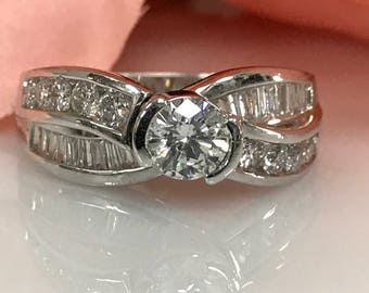 Round Diamond Engagement Wedding Anniversary Ring with Round and Baguette Diamond Accents  14k White Gold #233