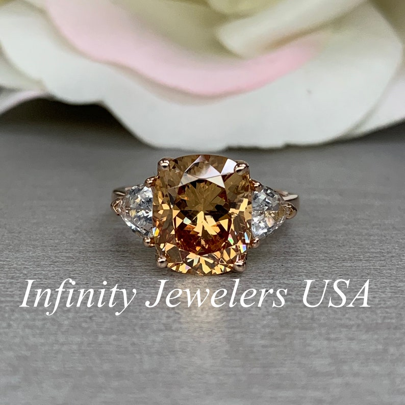 Elongated Cushion Cut Engagement Ring Champagne Color Ring Cushion Cut With Trillion Sides 14k Rose Gold 5561