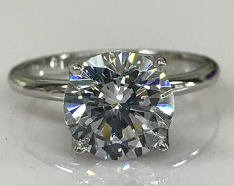 Moissanite Round Solitaire Engagement Ring 1.00ct. to 3.10ct. Set In 14k White Gold 4 Prong Head Solitaire