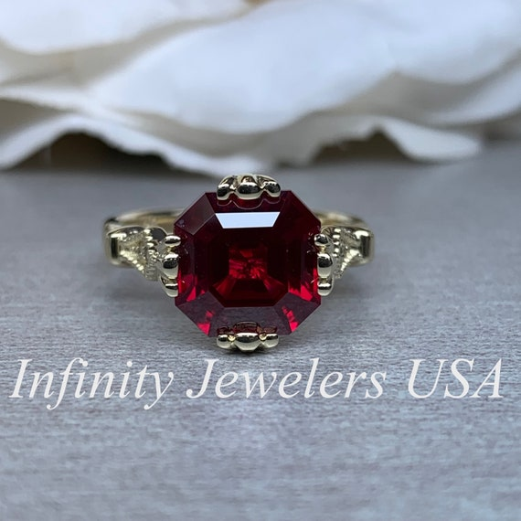 Asscher Cut Engagement Ring Red Ruby Wedding Ring Vintage Etsy