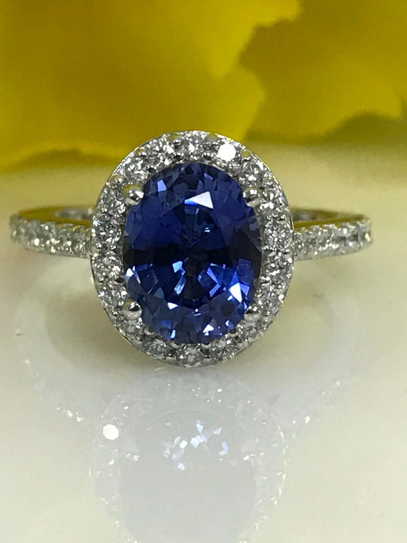 81c618f23981 Sapphire And Diamond Oval Ceylon Blue Halo Style Engagement