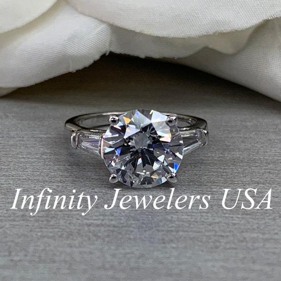 3 ct Emerald Ring Vintage Brilliant Top Russian CZ  Moissanite Simulant Size 9
