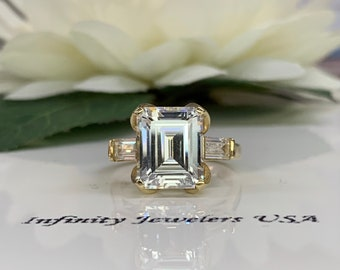 Emerald Cut Engagement Ring 14k Yellow Gold, Baguette Accent Engagement Ring, Emerald Cut Ring With Baguette Side Stones   #4659