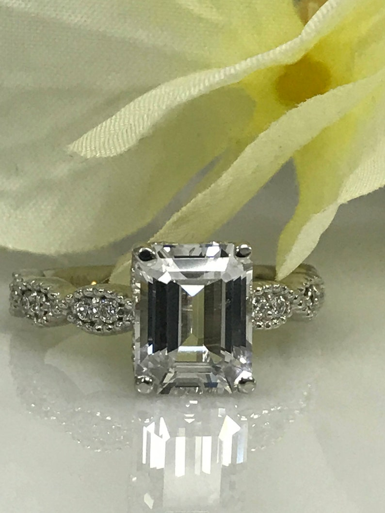 Engagement & Wedding 2.30 Ct Diamond Engagement Ring 14k White Gold Party Bridal Emerald Cut Size 4 5 Bright In Colour Jewelry & Watches
