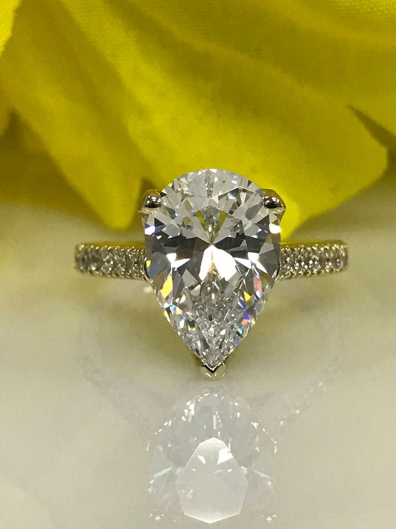 9ff032716b93d Russian Cut Pear Shape Diamond with Round Accents Engagement Wedding Ring  4.50 ctw Solid 14K Yellow Gold #4994