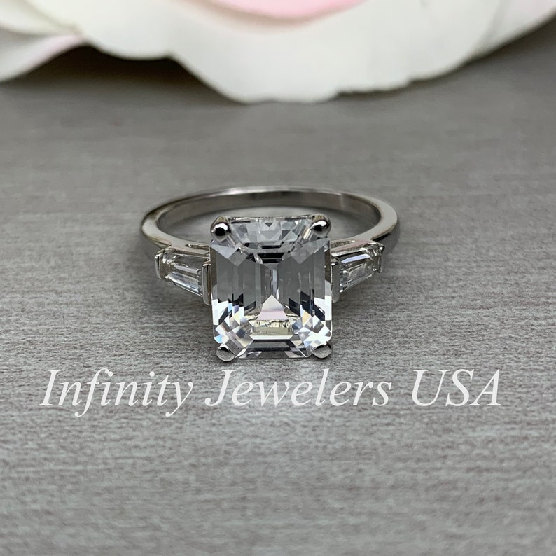 9fb41086d5f2c White Sapphire Emerald Cut 4.00 ctw. Engagement Wedding Anniversary Ring  With Tapered Baguettes In 14k White Gold #5231
