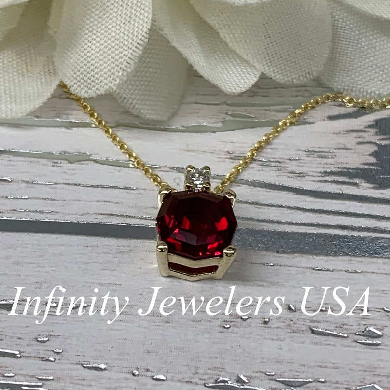 Ruby Necklace Dainty Necklace 14K Yellow Gold Ruby Pendant Necklace July Birthstone Layering Necklace For Ladies Hexagon Necklace #6713