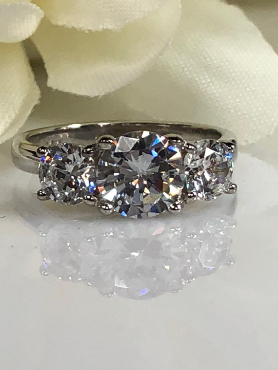 2.20Ct Oval Forever Moissanite Three Stone Engagement Ring 925 Sterling Silver