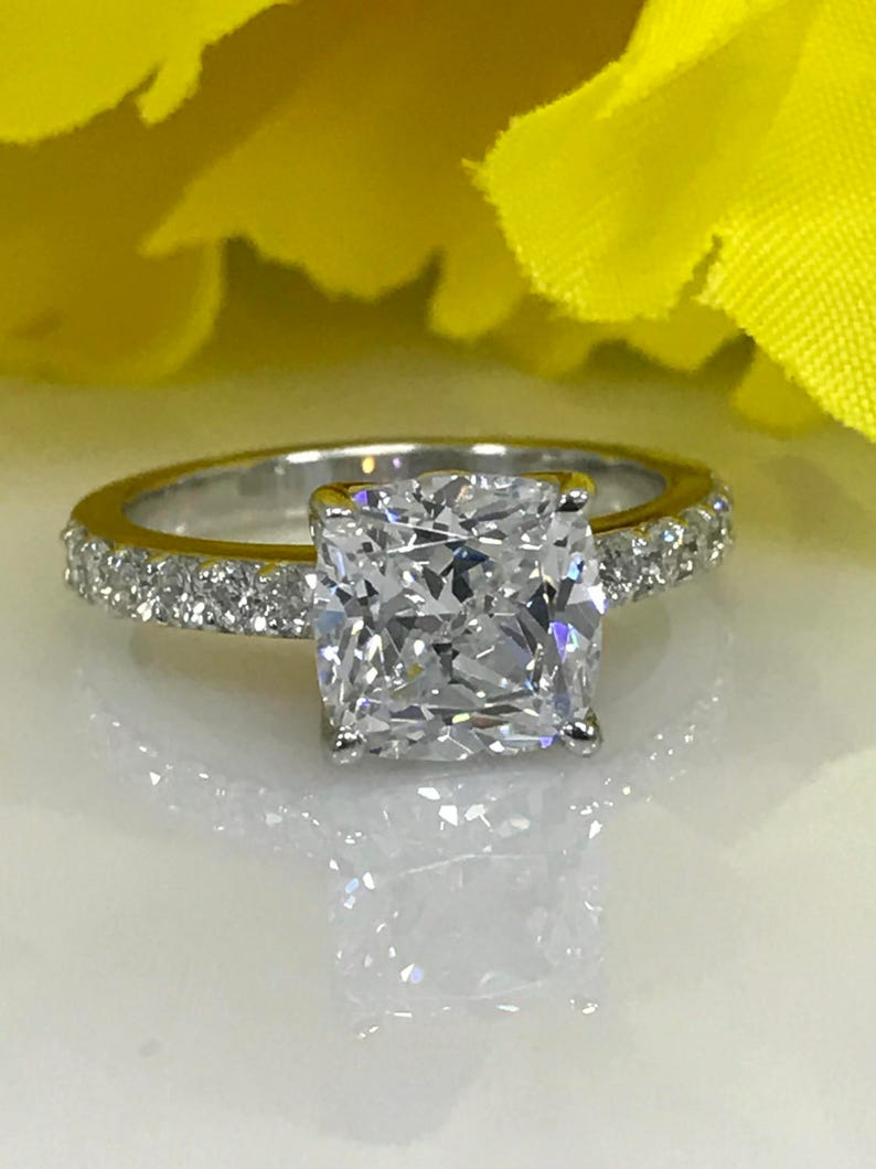 Certified Moissanite Forever One Cushion Cut Engagement Ring 2 80 ctw  With  Diamond Accent Band 14K White Gold #4950