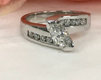 Marquise Diamond  Engagement Wedding Anniversary Ring with Round Diamond Accents  14K White Gold #3415
