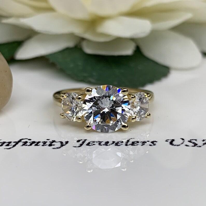 Round Engagement Ring  Three Stone Ring  14k White Gold  #6231