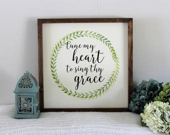 Fall decor - Religious Home Decor - Tune my heart to sing thy grace - Farmhouse style wood sign - Hand-painted Wood Sign - Rustic home decor
