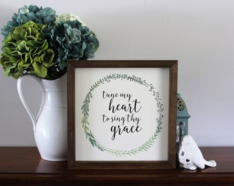 Tune my heart to sing thy grace - Christian home decor - Fall decor - Religious home decor - Farmhouse style wood sign - Handpainted sign
