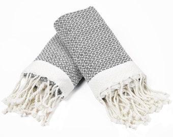 Diamond - Set of 2 Small Size Peshtemal Towels , Hand Towel , Fitness Towel, Dish Towel