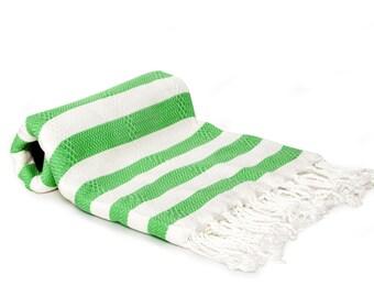 50/50 Bamboo & Cotton Blend Turkish Towel - Fouta - Pestemal Towel - Green