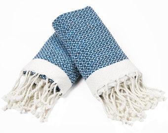 Diamond - Set of 2 Small Size Peshtemal Towels , Hand Towel , Fitness Towel, Dish Towel NAVY