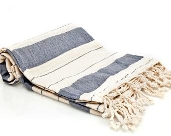 100% Cotton Bold Striped Turkish Towel - Fouta - Pestemal Towel - Navy