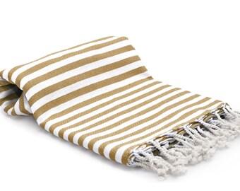 100% Cotton Turkish Towel - Fouta - Peshtemal Towel - Latte