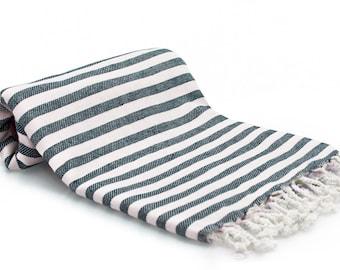 100% Cotton Turkish Towel - Fouta - Peshtemal Towel - Ocean Blue