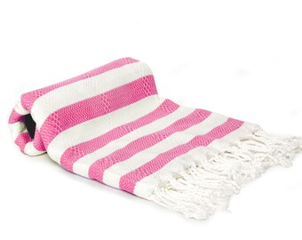50/50 Bamboo & Cotton Blend Turkish Towel - Fouta - Pestemal Towel - Hot Pink