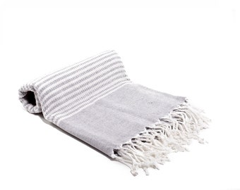 100% Bamboo Turkish Towel - Fouta - Peshtemal Towel- Gray