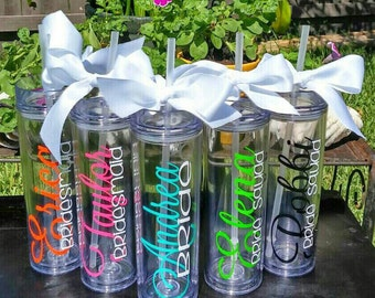 Personalized Tumbler, Wedding Party, Party Favors, Bridesmaid gift, Tumbler, Custom Tumbler, Monogrammed cup, Tumbler with straw, Bridal