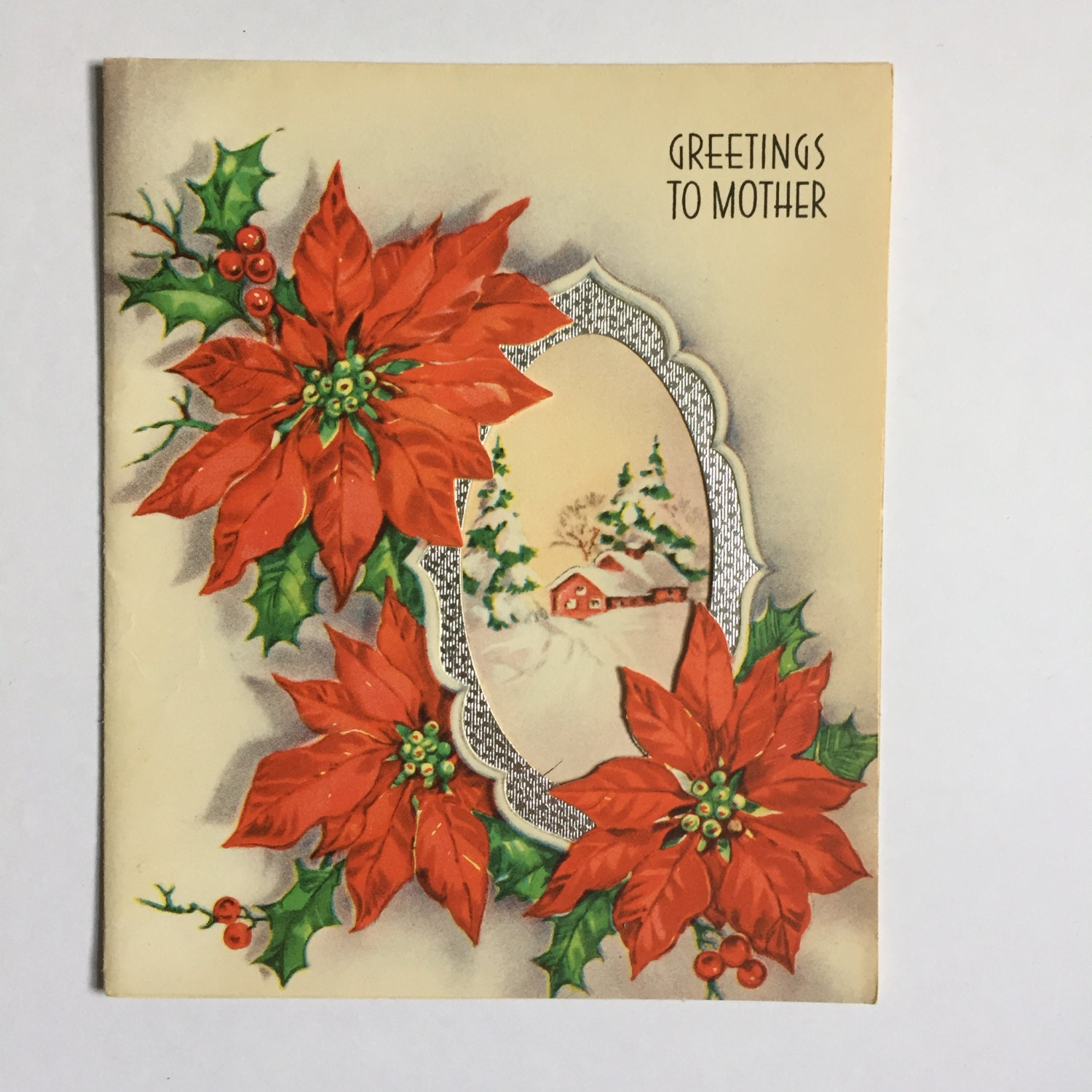 Used Vintage Christmas Card For Mother Made In Usa Etsy