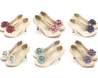 Genuine LEATHER shoe clips, flower SHOE CLIPS, rose shoe clips, floral pumps decoration, wedding shoe jewelry, handmade bridal shoe clips