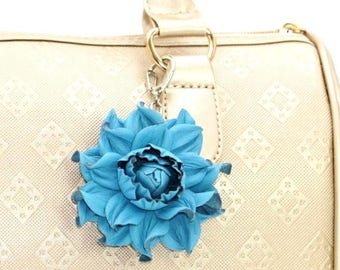 b901352551c3 Genuine Turquoise Leather Flower Bag Charm 3