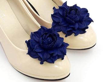 Genuine LEATHER SHOE CLIPS flowers, dark blue floral shoe decoration, wedding bridal shoe jewelry | Handmade shoe jewellery, Ukranie