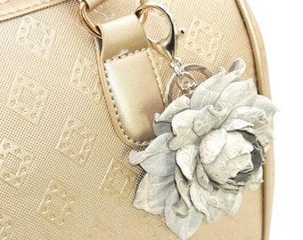4f4f4a60850d Genuine Crocodile Print Gray Leather Flower Bag Charm 3