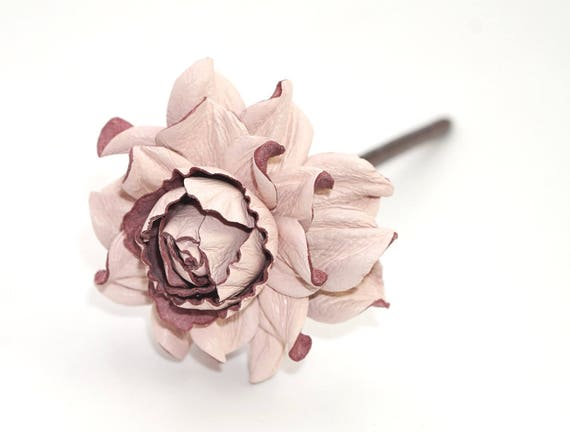 genuine leather /& natural wood hair fork Wooden floral hair stick hot RED rose leather flower hair piece accessory  pin realistic roses