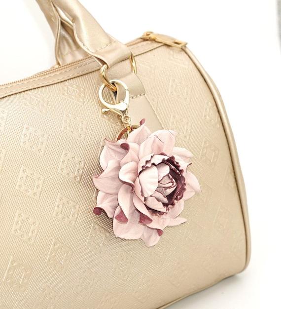 627c7ff86909 Genuine Leather Flower Bag Charm 3 Powder Pink Rose