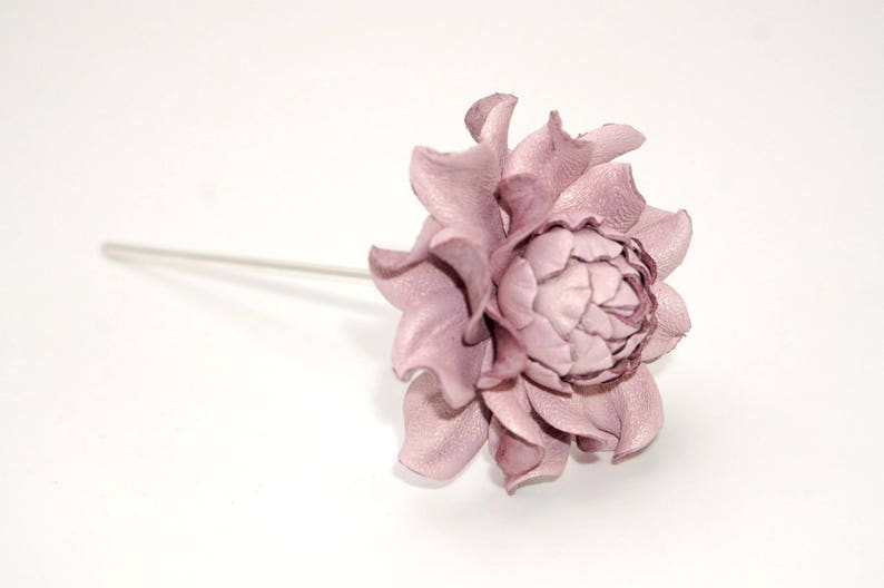 Metal floral hair stick 4 w flower genuine leather light purple rose 2 thin metal hair fork|Pink Hair flower|1 prong hair piece accessory