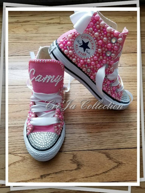 KIDS Rosa Converse, Kinder rosa High Top Chucks, Kinder Perle Chucks, KIDS Perle Converse, KIDS Bling Converse