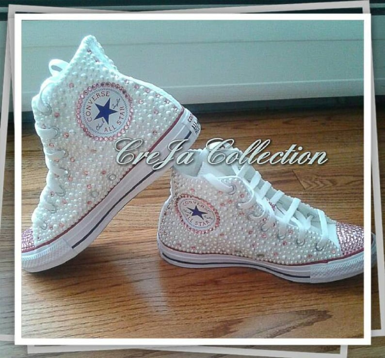 57fb302423b6 Pearl Converse Pink Converse High Top Custom Converse