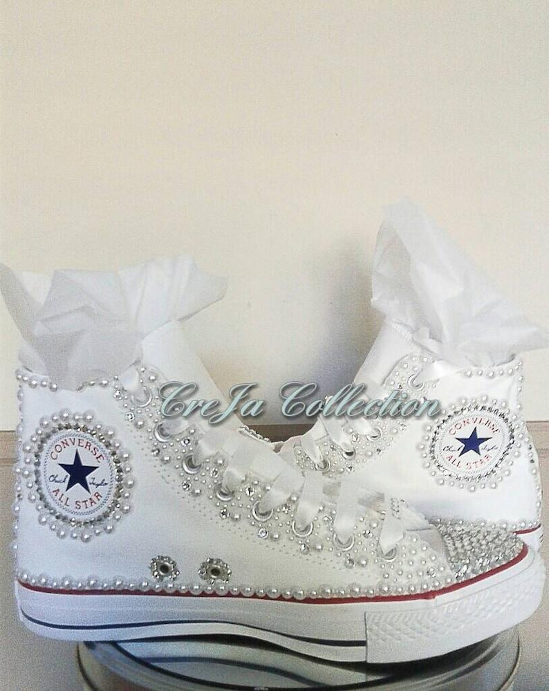 c846a478ee14e Wedding Converse, Pearl Converse, Bling Converse, Bridal Converse, Etsy  Wedding, Custom Converse, Rhinestone Converse, converse crystal