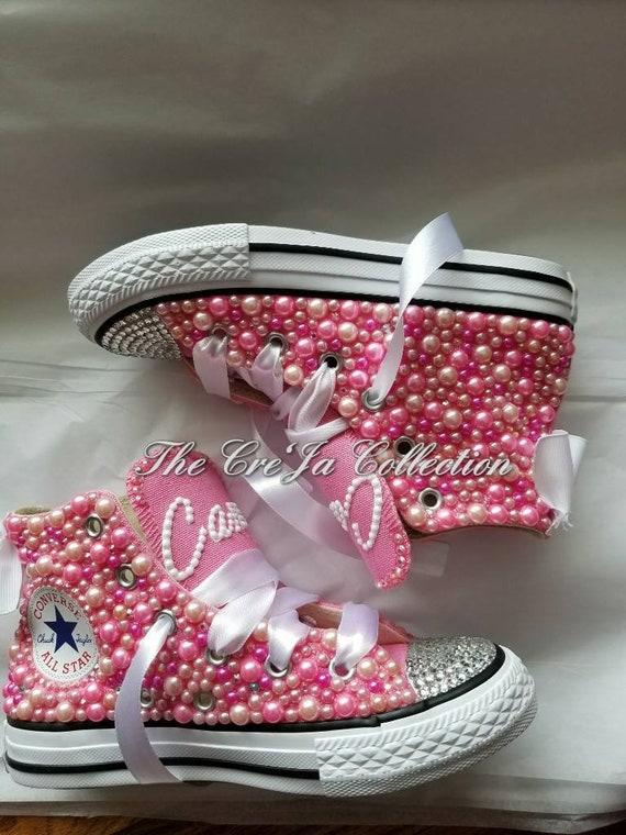 KIDS Rosa Converse, Kinder rosa High Top Chucks, Kinder Perle Chucks, KIDS Perle Converse, KIDS Bling Converse