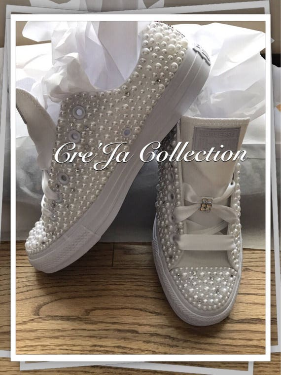 Wedding Converse, Bridal Converse, Pearl Converse, Bling Converse, Custom Converse, Monogram Converse, Wedding Chucks,Personalized Women