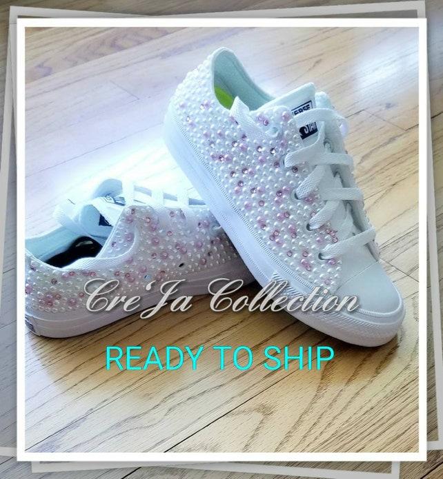 d339f300d942 Girls pearl Etsy On Kids custom Girls converse shoes Sale rwfrIOq