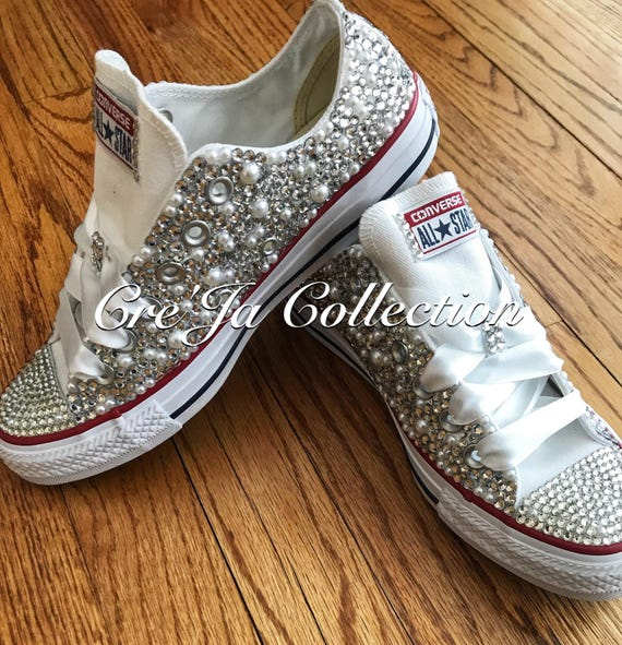 bästsäljare väldigt billigt högmode Pearl Converse Wedding Converse Bling Converse Diamonds and | Etsy