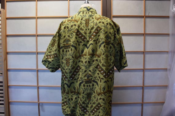 Ethnic Men Lined Batik Shirt Red Gold Size M / L 9F0ECOXp