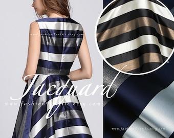 Blue White Stripes Jacquard Fabric Width 145cm